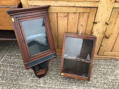 Lot 924 - Edwardian mahogany hanging corner display cabinet, together with another mahogany hanging cupboard