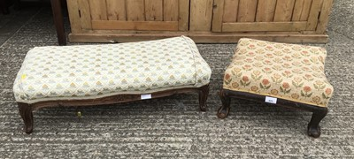 Lot 925 - Late 19th/early 20th century mahogany framed square footstool, on carved claw feet, together with another rectangular foot stool (2)