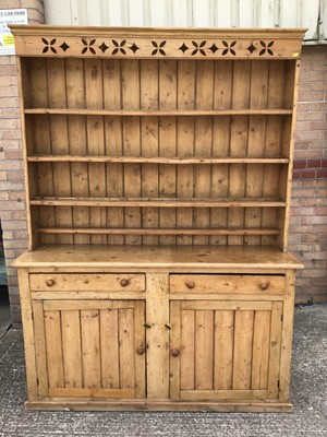 Lot 914 - Victorian pine two height kitchen dresser, the raised open back above two drawers and two cupboards below