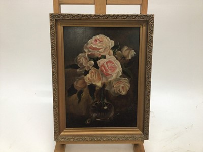 Lot 49 - English School 19th Century, A still life of roses in a vase, oil on mahogany panel, initialled DS and dated '18, in gilt frame. 36 x 27cm.