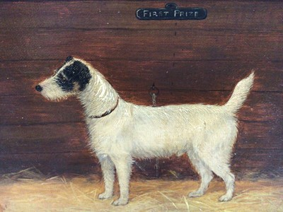 """Lot 50 - English School 19th Century, """"First Prize"""", a study of a terrier, oil on board, inscribed, in gilt frame. 18 x 22cm."""