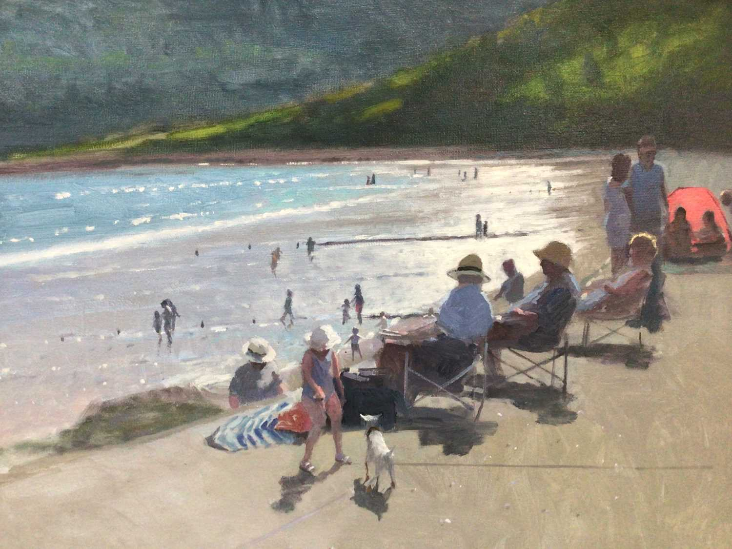 Lot 51 - Peter Z. Phillips, A sunny day at the beach, oil on canvas, signed and dated '21, in gilt frame. 35 x 46cm.