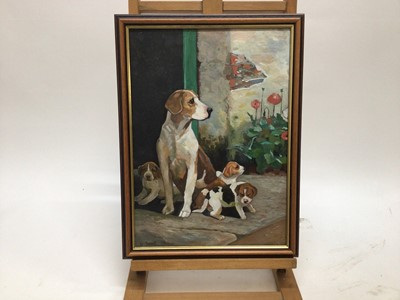 Lot 52 - S. Scott, A hound and her family, oil on board, signed, in gilt frame, 40 x 28cm.