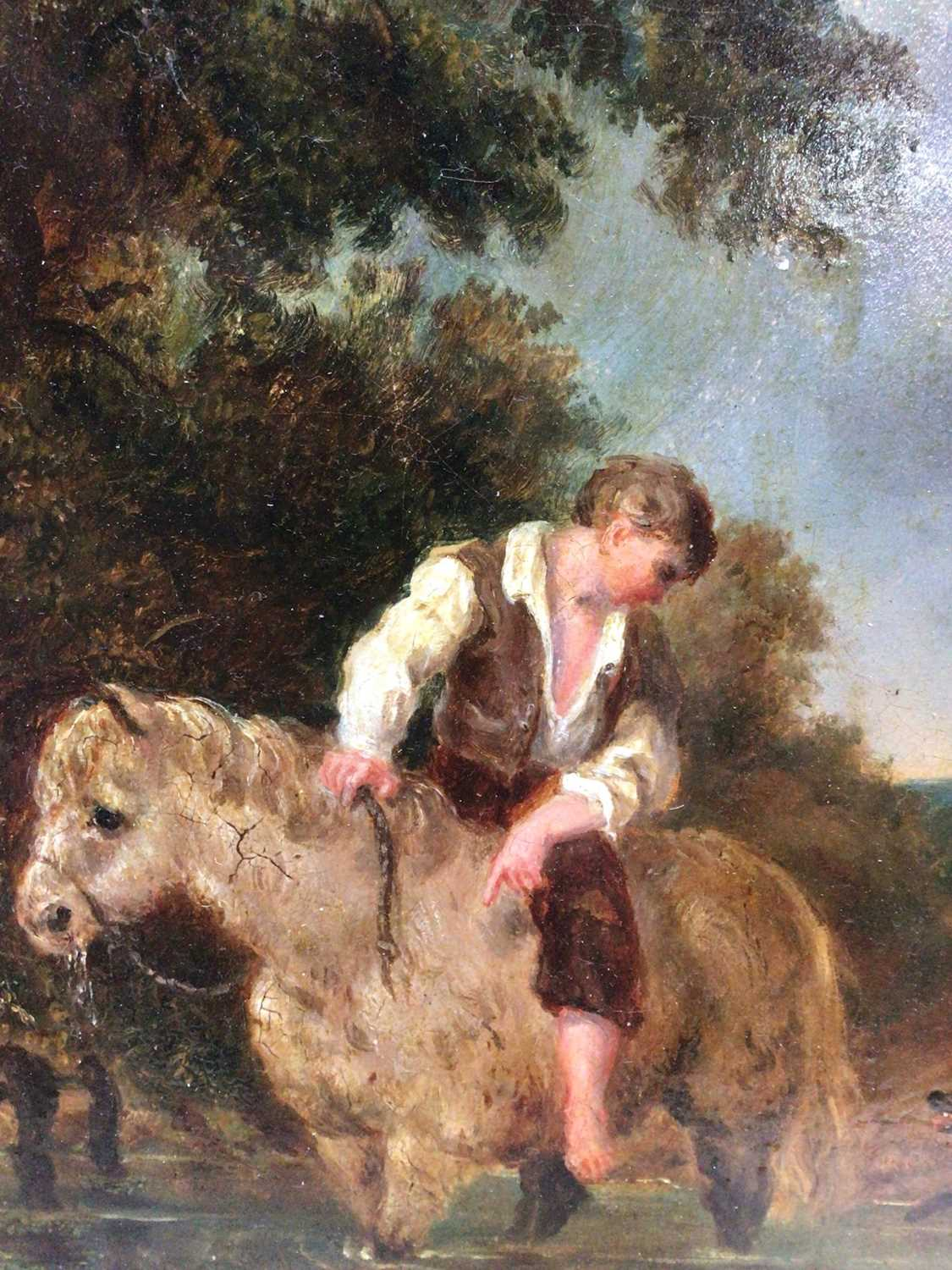 Lot 53 - English School 19th Century A boy on his pony with his dog in a stream, oil on board, in painted frame. 17 x 15cm.