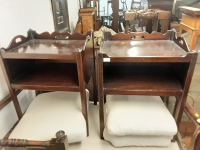 Lot 933 - Pair of Georgian style mahogany two tier bedside table, 56cm wide x 44cm deep x 75cm high