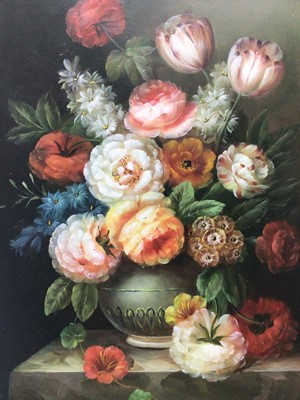Lot 142 - Attributed to Thomas Webster, pair of oils on panel - Flower Pieces, 41cm x 30.5cm, unframed
