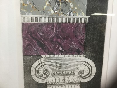Lot 1 - American School, 1980s, set of the three colour aquatints with marbled collage elements, Fireplace, composed of two jambs and mantel: left pillar titled 'Architectural Tracery', state 1, numbered 6...