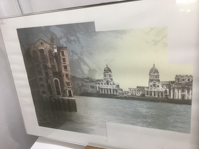 Lot 2 - Richard Davies (b. 1944) colour screen print, 'Greenwich' signed and dated 1988,:numbered 71/125, 59.5 x 84cm, glazed frame