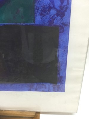 Lot 3 - John Hoyland (1934-2011) etching and aquatint 'Memphis Blue' artist's proof, numbered 1 of 10, signed, 68 x 54.5cm, glazed frame