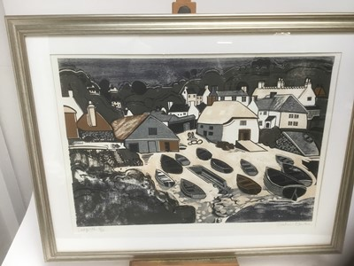 Lot 189 - Graham Clarke (b. 1941) woodcut, 1967, 'Cadgwith' numbered 31/50