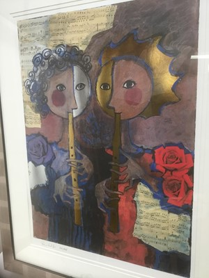 Lot 191 - Rosina Wachrmeister (b. 1939) print  'Two girls playing flute