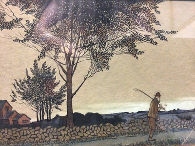Lot 47 - Ruth Cartlidge (early 20th century) two Art Nouveau watercolours, figures beside a stream, 14 x 10cm, the second, traveller at dusk, signed, 17 x 27cm. N.B. Ruth Cartlidge was from a family of cera...