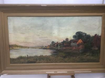 Lot 61 - Frank Dickson (1852-1936) oil on canvas, harbour scene, possibly Bosham