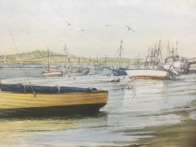 Lot 69 - Edwin Meayers (b.1927) watercolour - West Mersea, signed, inscribed and dated '07, 42cm x 67cm, in glazed frame