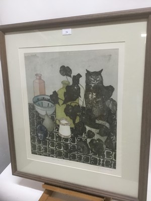 Lot 71 - Tiffany McNab (1964-2010) signed limited edition etching - 'Still life with wise Owl', 19/100, 55cm x 47cm, in glazed frame