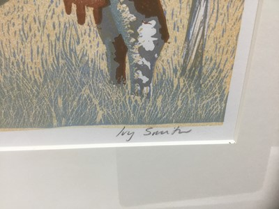 Lot 73 - Ivy Smith (b.1945) signed limited edition linocut - The Farm, 22/50, 40cm x 52cm, in glazed frame
