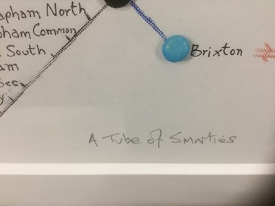 Lot 74 - Mike Read, contemporary, signed limited edition artists proof print - Choc-Art, Smarties Tube Map, 1/25, 52cm x 81cm, in glazed frame