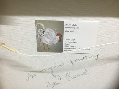 Lot 75 - Ailsa Read, contemporary, oil on canvas - A Chicken, signed, 31cm square