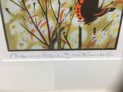 Lot 76 - Robert Greenhalf (b.1950) signed limited edition woodcut - Michaelmas Goldfinches, 24/100, 41cm x 19cm, in glazed frame