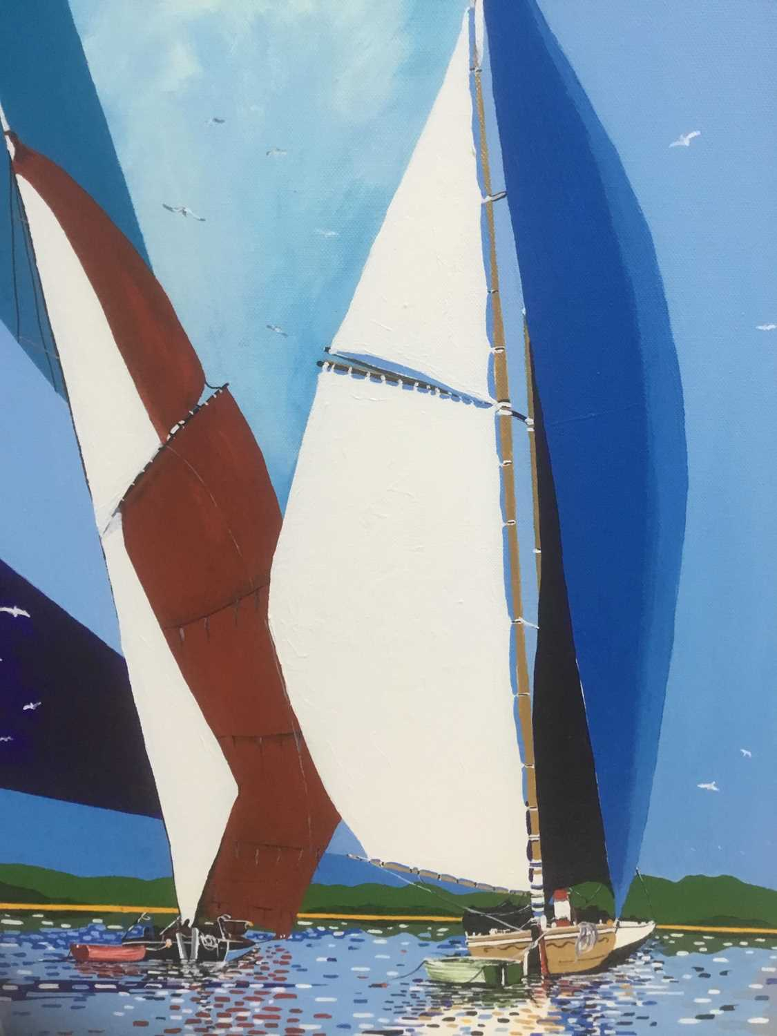 Lot 77 - James McColl Smith, oil on canvas - Sailing Barges, signed, 70cm x 50cm