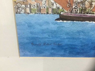 Lot 78 - Gerald Robert Tucker (b.1932) watercolour - Barges at St. Paul's Cathedral, signed, 27cm x 37cm, in glazed frame