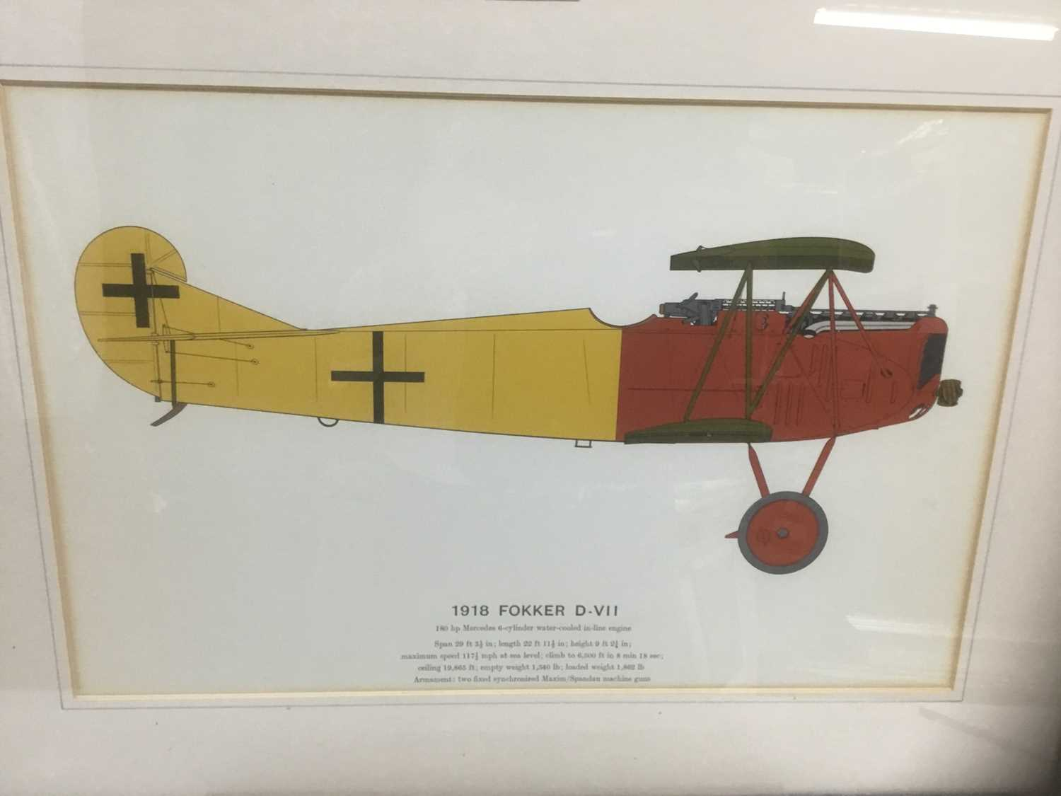 Lot 79 - Set of four coloured prints depicting early 20th century aeroplanes - 1909 Antoinette, 1917 Albatros, 1907/1909 Wright Flyer and 1918 Fokker, 28cm x 43cm, in glazed frames