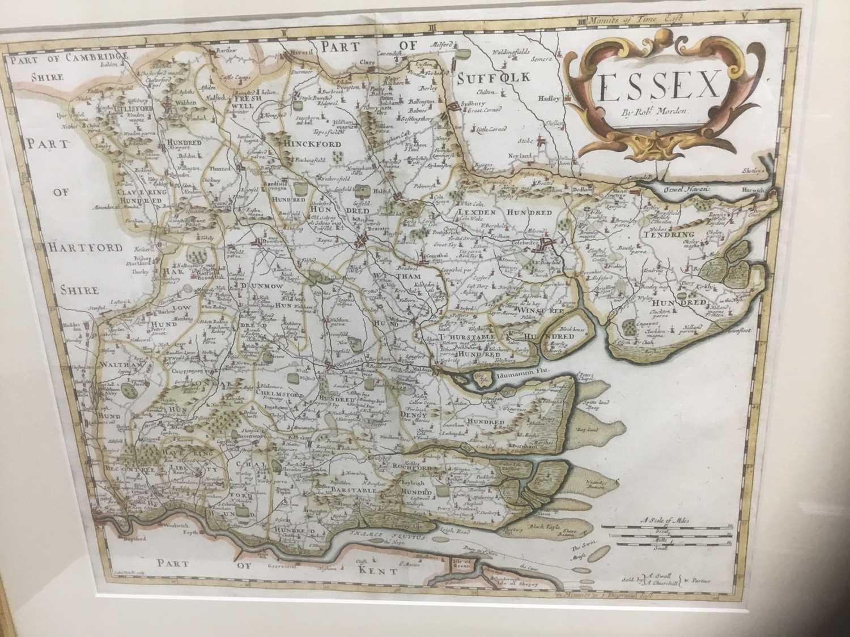 Lot 80 - 17th century hand coloured Robert Morden engraved map of Essex, 36cm x 42cm, in glazed gilt frame