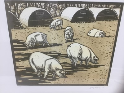 Lot 81 - Contemporary, signed limited edition linocut - Pigs, 2/35, indistinctly signed and dated '12, 37cm x 55cm
