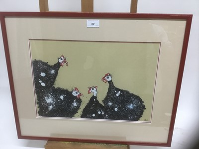 Lot 82 - Contemporary limited edition coloured print - Guinea Fowl, 22/75, indistinctly signed, 28cm x 41cm, in glazed frame