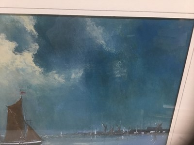 Lot 84 - John Clarke, contemporary, oil on board - sailing barges, signed, 25cm x 36cm, in glazed frame