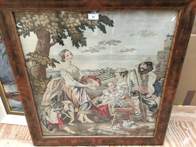 Lot 93 - Antique needlework panel depicting a family group being entertained by a musician, 66cm x 60cm, in mahogany frame with inlaid slip