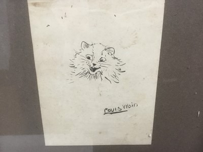 Lot 166 - Louis Wain (1860-1939) pen and ink drawing - a smiling cat, signed, 10.5cm x 8.5cm, in glazed frame   Provenance: Bonhams 28th February 2007, lot 363
