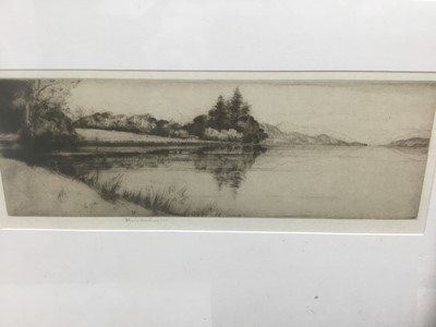 Lot 167 - John George Matheison (act. 1918-1940) signed etching - Loch Ard, 9cm x 24cm, in glazed frame
