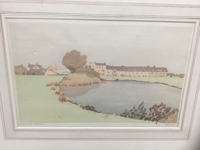 Lot 169 - Philip G Needell (1886-1974) signed colour woodcut - Waterloo Place, Christchurch, 21cm x 32cm, mounted
