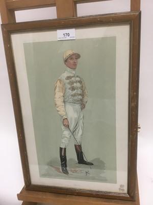 Lot 170 - Edwardian Vanity Fair lithograph - the jockey Danny Maher, 38cm x 25cm, in glazed frame