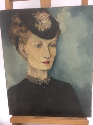 Lot 171 - Late 19th/early 20th century French School oil on canvas - portrait of a lady, indistinctly signed, 41cm x 33cm, unframed