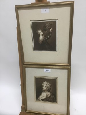 Lot 174 - Attributed to George Perfect Harding (1781-1853) pair of monochrome watercolours - Titian's Daughter and Beaumaris, circa 1832, 15cm x 12.5cm, in gilt frames