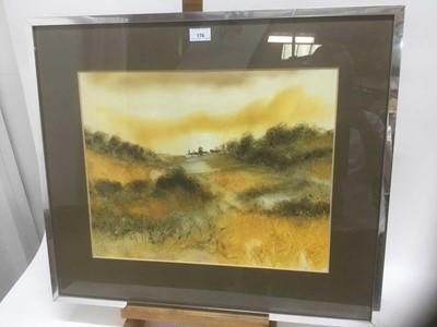Lot 176 - George Spence (b.1931) oil/acrylic on paper - Landscape, signed, 38cm x 48cm, in glazed frame
