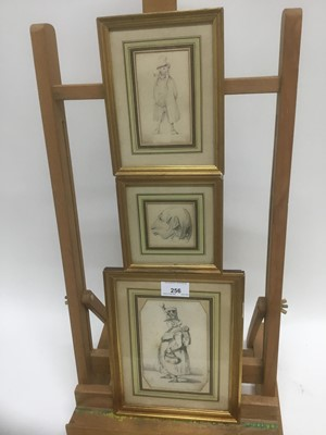 Lot 60 - Henry Bonaventure Monnier (1805-1877) three pencil sketch caricatures of figures, two signed, 14.5cm x 9.5cm, 10cm x 6cm and 6cm square, each in glazed gilt frame (3)