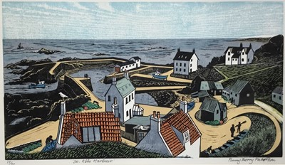 Lot 116 - Penny Berry Paterson (1941-2021) colour linocut - St Abbs Harbour, signed and numbered 17/20