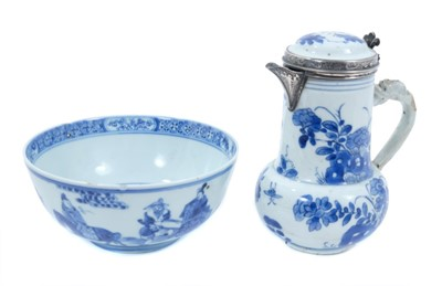 Lot 2 - Chinese Kangxi porcelain jug and cover with later silver mount, together with a bowl (2)