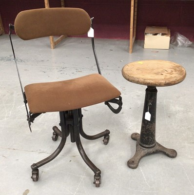 Lot 859 - Vintage machinists industrial chair, together with a machinists stool