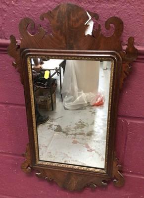 Lot 861 - George I style mahogany fret carved wall mirror, 69 x 40cm