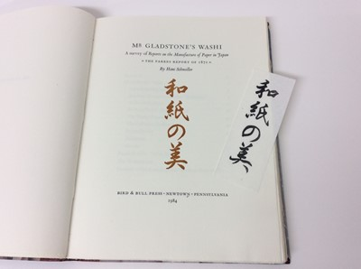 Lot 10 - Hans Schmoller - Mr Gladstone's Washi, Bird and Bull Press, 1984, numbered 22/500