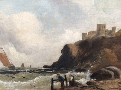 Lot 1 - G. Stanley, late 19th century oil on canvas - shipping off the coast with castle ruins, signed, 24cm x 45cm, in gilt frame