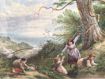 Lot 2 - After Miles Birket Foster, Edwardian coloured print - Picking Wild Flowers, 25cm x 45cm, in 19th century gilt frame