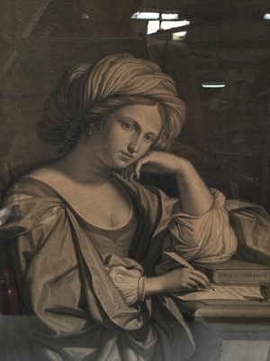 Lot 4 - 18th century black and white classical engraving - Sibylla Persica, 44cm x 33cm, in glazed gilt frame