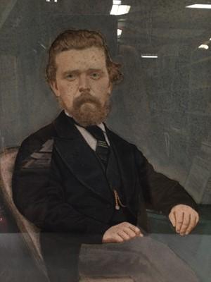Lot 90 - English  School, Edwardian pastel portrait of a seated gentleman in black coat, 59cm x 46cm, in glazed gilt frame