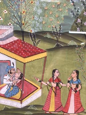 Lot 10 - Indian School gouache - The Lovers, 27cm x 21cm, in glazed gilt frame