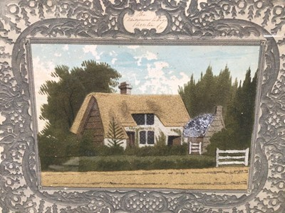 Lot 11 - 19th century sand picture entitled 'The Dairymans Cottage...', in original decorative mount and glazed rosewood frame, 23cm x 27cm overall